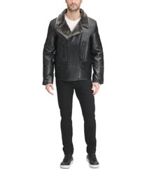 dkny men's sherpa lined asymmetrical faux leather motorcycle jacket, created for macy's