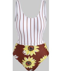 striped sunflower monokini swimsuit