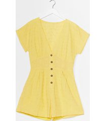 womens hole-d up broderie button-down romper - yellow