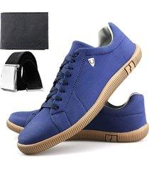 sapatenis neway sw azul + cinto + carteira - azul - masculino - dafiti