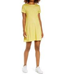 women's blanc noir cotton & modal t-shirt minidress, size x-small - yellow
