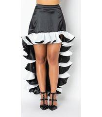 akira she's arrived ruffled satin high low skirt
