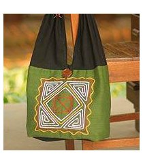 cotton shoulder bag, 'jade secrets' (thailand)