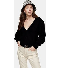 black covered button cardigan - black