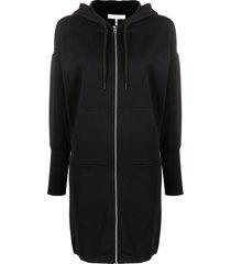 rag & bone zip-up hoodie dress - black