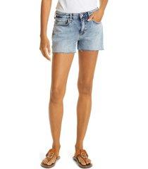 women's rag & bone dre low rise frayed denim cutoff shorts, size 33 - blue