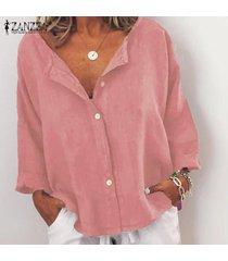 zanzea mujeres ocasionales flojas de la manga 3/4 cuello en v botones tops camisas de la blusa del tamaño extra grande -rosado