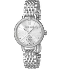 roberto cavalli by franck muller women's swiss quartz silver stainless steel bracelet watch, 30mm