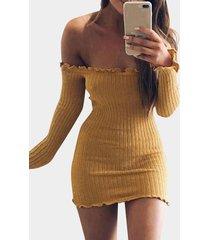 jersey de punto con dobladillo con volantes y hombros descubiertos amarillo vestido
