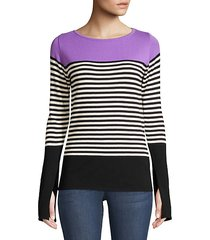 colorblock stripe knit pullover