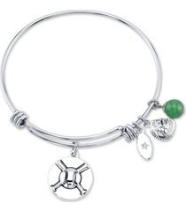 unwritten baseball charm and green aventurine (8mm) bangle bracelet in stainless steel