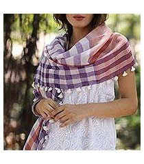 cotton shawl, 'gamocha elegance' (india)
