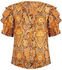 esqualo blouse rufffle sleeve golden hour