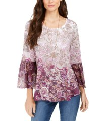 style & co printed babydoll tunic, created for macy's