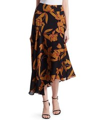 lev silk floral midi skirt