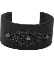 pulsera de mujer negro fascia rigida design leather collection vestopazzo