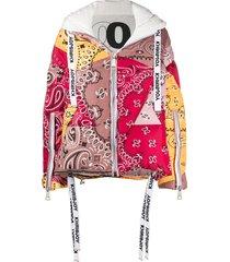 khrisjoy bandana-print puffer jacket - brown