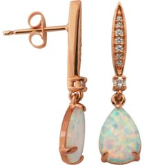 18k rose gold over sterling silver with lab created opal and cubic zirconia drop earrings