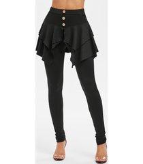 button high waist skirted skinny pants
