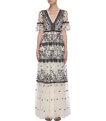 midsummer' lace trim floral embroidered short sleeve gown