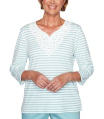 alfred dunner cottage charm striped lace trim top