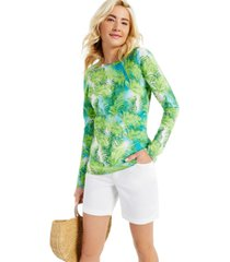 cashmere tropical print long-sleeve crewneck sweater, created for macy's