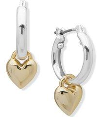 dkny two-tone heart charm hoop earrings