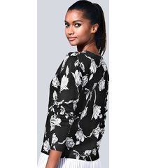 tröja med plisserad kant alba moda svart::vit