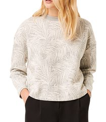 french connection women's sekia palm-print jersey top - grey - size xs