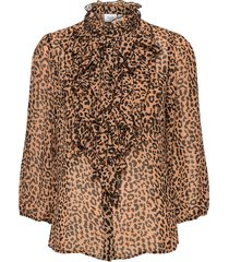lillysz 3,4 shirt blus långärmad brun saint tropez