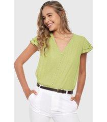 blusa verde-blanco active