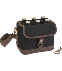 legacy by picnic time black & brown beer caddy cooler tote with opener