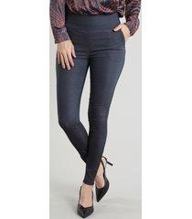calça legging feminina em jacquard azul marinho