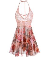 plus size halter lace insert floral print babydoll set