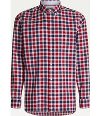tommy hilfiger men's regular fit check shirt red / navy / multi - m