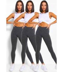 verpakking van 3 stuks basic legging met hoge taille, houtskool