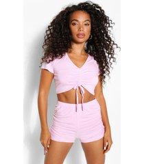 petite geplooide pyjama set met shorts, blush