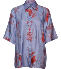 leros x blouses short-sleeved blauw tiger of sweden