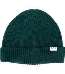 a.p.c. ribbed-knit logo beanie - green