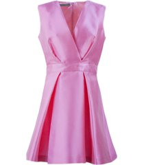 alberta ferretti pink silk blend flared mini dress