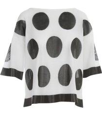pierantoniogaspari boat neck 3/4s sweater w/pois