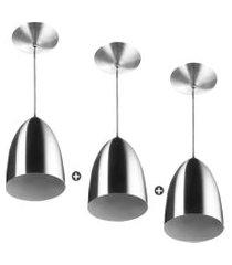 kit 3 lustres pendente cone de alumínio 20x14cm escovado