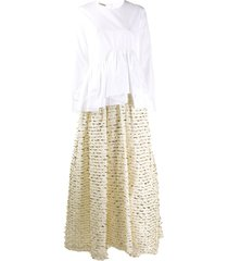 jourden asymmetric shirt evening dress - white