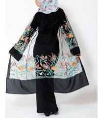 urban modesty women's mesh midi embroidered cardigan