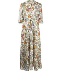 tory burch peacock flora printed cotton shirt dress - white