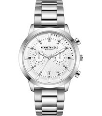 kenneth cole new york men's multifunction dual time silver-tone stainless steel watch on silver-tone stainless steel bracelet, 44mm