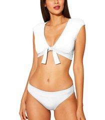 bleu by rod beattie kore tie front bikini top, size 4 in white at nordstrom