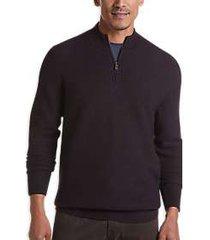 joseph abboud burgundy wool blend modern fit 1/4-zip sweater