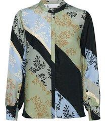 blouse in cupro w. buttons blus långärmad multi/mönstrad coster copenhagen