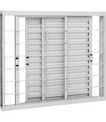 janela de aço veneziana de correr kompacta branca com grade quadriculada 3 folhas móveis 100x150x11,3cm - sasazaki - sasazaki